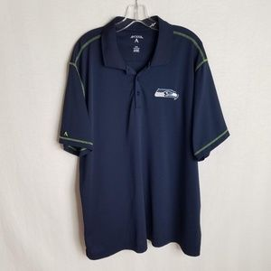 Seattle Seahawks Blue Short Sleeve Polo Shirt 2XL